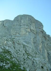 Beszállás a Stangenwand dél-keleti falába